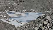 Frozen lake on the Ngozumba Glacier