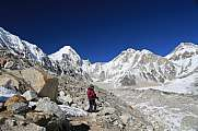 Everest trekker looks over Khumbutse peak EBC