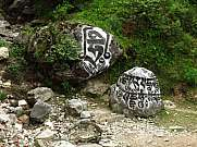 Big mani stones with engraved buddhist mantra