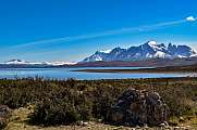 view of Lago Sarmiento with Torres del Paine