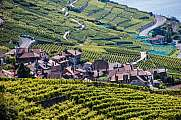 Vineyards and village Lac Leman Lavaux UNESCO