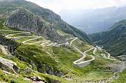 Old winding road on the southern side of the St. Gotthard