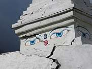 Stupa in Khumjung damaged during the recent earthquake