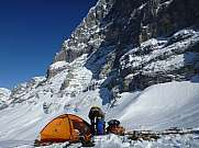 Getting ready for the night before climbing Eiger north face