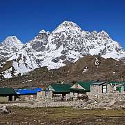 Small village Thagnak and Mt Phari Lapcha