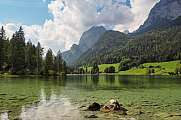 beautiful scenery at lake Hintersee, bavarian alps