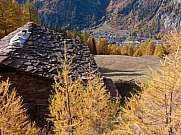slate roof in autumn mountain courmayeur