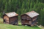 Traditional rural architecture in Zermatt old timber sheds with