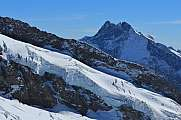View from Jungfraujoch glacier and Mt Fiescher Gabelhorn