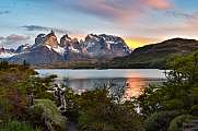 beautiful sunrise at Torres del Paine national park