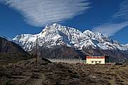 Snow capped Annapurna Range and House