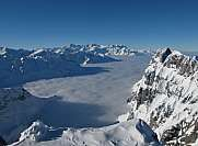 Winter scenery mountains and sea of fog Titlis