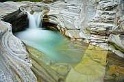 Tiny green waterfall Verzasca Lavertezzo