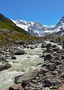 Fitz Roy river with Mt. Cerro Torre, Patagonia