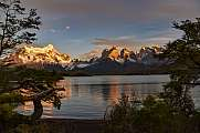 sunrise at Lago Pehoe, Torres del Paine national park, Chile