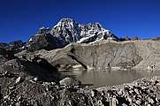 Glacier lake and mountain in the Gokyo valley