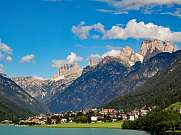 Auronzo with Santa Caterina Lake and Sexten dolomites mountains