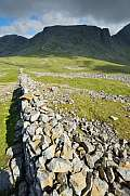 Stone Wall at Lingmill and Scafell Pike in the evening