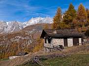 house in the first mountain in autumn courmayeur