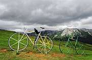 Giant Bike sculptures in Pirineos Mountains
