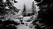 On the snowy hiking trail in Tatra Mountains
