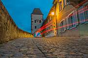 Red light trails at Hagenbachturm Breisach
