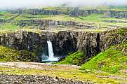 View of high waterfall in north Iceland