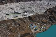 Gokyo village, moraine and glacier lakes